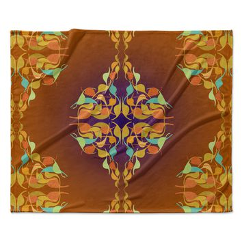 "Dan Sekanwagi ""Purple Feast"" Orange Abstract Fleece Throw Blanket"