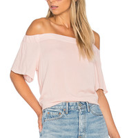 1. STATE Off Shoulder Flounce Sleeve Top in Rosy Flush | REVOLVE