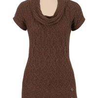 Short Sleeve 3 Button Cowl Neck Sweater