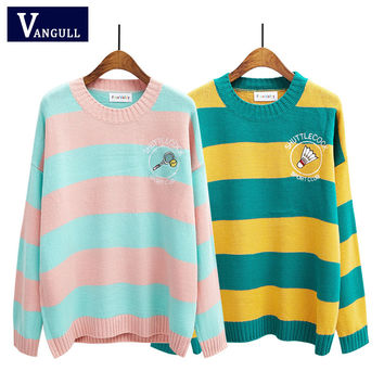 2016 Korean new Spring sweaters cartoon candy-colored stripes embroidery loose sweater women winter  racket