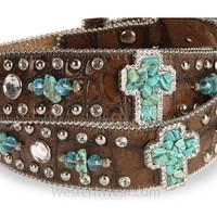 Women's Turquoise-hue Stone Cross & Croc Print Leather Belt by Nocona - Belt - Westernwear.com