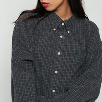 Tommy Hilfiger Shirt 90s Checkered Shirt Plaid Tommy Jeans Grey Preppy Grunge Button Up down 1990s Vintage Long Sleeve Flannel Large xl