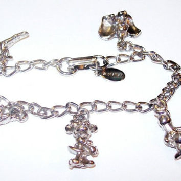 "Disney Charm Bracelet Curb Chain Mickey, Minnie, Pluto, Dumbo, Donald, and Tinkerbell Silver Plated Metal 7"" Vintage"