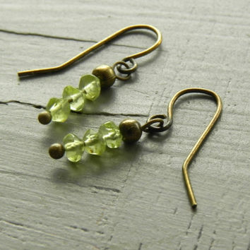 Small Peridot Dangle Earrings / Bohemian Antiqued Brass Earrings / Peridot Earrings / August Birthstone Earrings