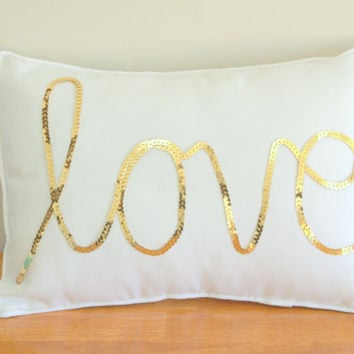 Gold Sequined Love Cushion