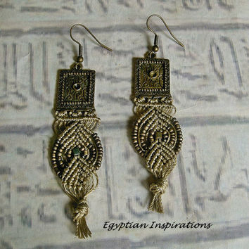 Micro macrame earrings. Khaki medieval style earrings.
