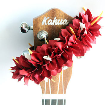 ribbon lei for ukulele (Bougainvillea red) / ukulele accessories/ ukulele decor / mandolin /hawaiian lei /organdie ribbon / monstera