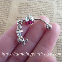 Lovely Mini Mermaid Charm Belly Button Ring, Belly Button Ring, Crystal Belly Ring,