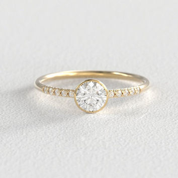 Yellow Gold and Platinum Moissanite Engagement Ring | Bezel Setting | Hand Pavé Canadian Diamond Band | Recycled Gold Minimal Modern Band