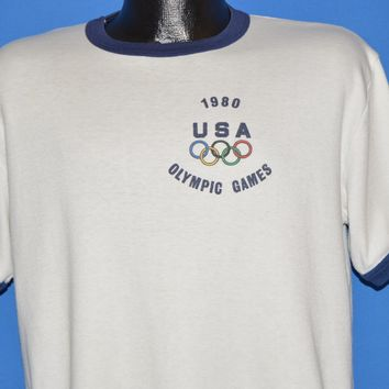 80s 1980 Olympic Games USA Glitter Iron On t-shirt Large