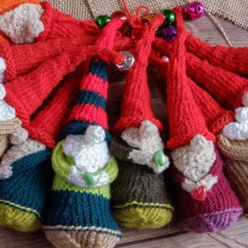 Christmas dwarf or gnome knitted toy, great as Holiday decoration, sock stuffing or just as small toy for your children.