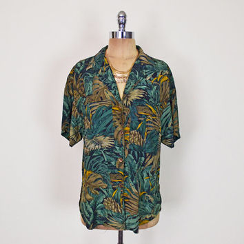 Vintage 80s 90s Green Alligator Animal Print Shirt Leaf Safari Novelty Print Blouse Top 100% Silk Shirt Slouchy Oversize Shirt Women M L