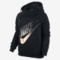NIKE RALLY METALLIC FUNNEL NECK PULLOVER