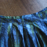 1960s Vintage Green/Blue Abstract Print Skirt; Women's 4X/Plus Size 26 Green/Blue Shadow Plaid Cotton Skirt; U.S. Shipping Included
