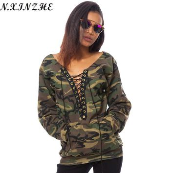 N.XINZHE Sexy Deep V-Neck Lace Up Loose Hoodies Women 2017 Spring Summer Camo Print Long Sleeve Casual Army Green Sweatshirts