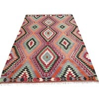 "Pre-owned Vintage Handwoven Turkish Kilim Rug - 6'4"" x 9'6"""