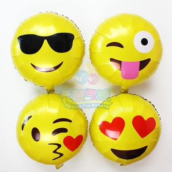 2pcs/lot emoji foil balloon QQ wechat cool love kiss naughty expression helium globos party supplies kid love giftsEM1801~EM1808