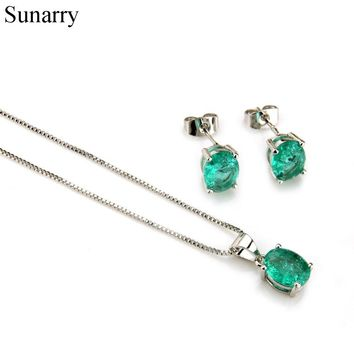 Sunarry Silver Color CopperExplode Stone Cubic Zirconia Stud Earrings And Pendant Necklaces Women's Fashion Jewelry Sets