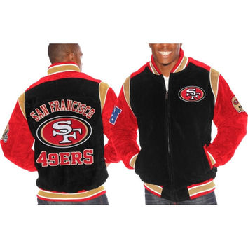 San Francisco 49ers Squeeze Play Suede Jacket – Black