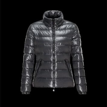 Moncler Bady Detachable Hood Steel grey Jackets Lacquered Nylon Womens 41224540KR