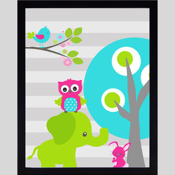 Aqua Hot Pink Lime Elephant Owl Bird, Modern Baby Room, CUSTOMIZE YOUR COLORS 8x10 Prints, nursery decor nursery print art baby room decor