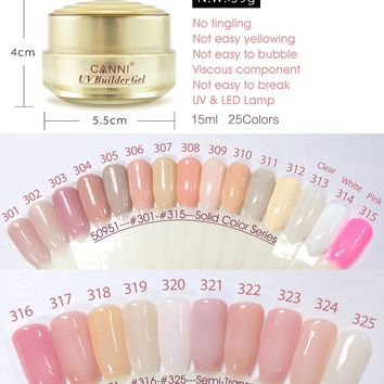 CANNI LED Builder Gel 15ml French Tips White Transparent Clear Pink High Quality 25 Camouflage Jelly Color Nail Extending UV Gel