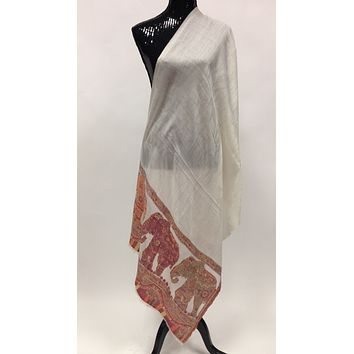 Hand Woven Pashmina Shawl/Stole - Off White