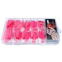 Kobwa(TM) Pink Glitter Twinkle Slice Acrylic Half False Nail Art Tips/Cover -1Set(100pcs) +Free Keyring