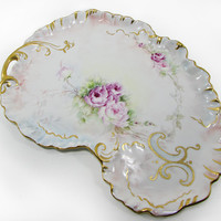 """Limoges """"W.G."""" Guerin Kidney Shaped Tray Hand Painted with Roses 13"""" Dresser Vanity Antique"""