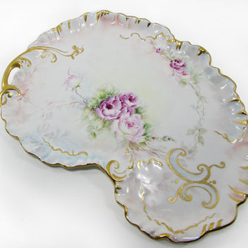 "Limoges ""W.G."" Guerin Kidney Shaped Tray Hand Painted with Roses 13"" Dresser Vanity Antique"
