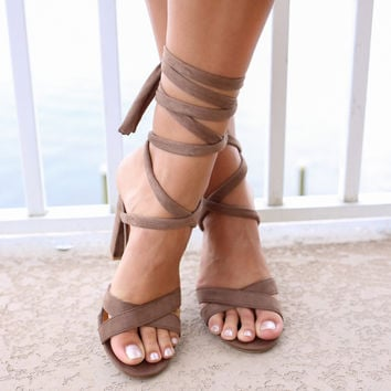 Until Dawn Taupe Tie-Up Heels