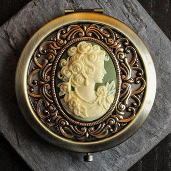 Irish cameo pill box container, antique brass pill box, green cameo pill box, bronze pill box, bridesmaid gift, unique Christmas gift