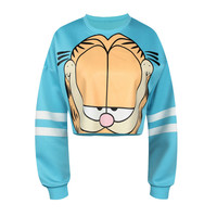 Women's Garfield Printed Light Blue Winter Fitness Fashion Crop Top Sweatshirt