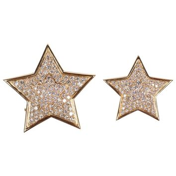 Van Cleef & Arpels Two Diamond Gold Star Design Clip Brooches