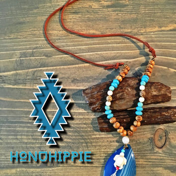 Boho Hippie jewelry, Honu Hippie Sea turtle necklace