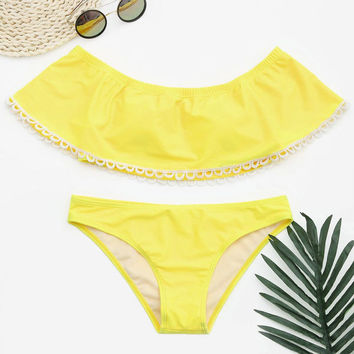 Yellow Ruffle off Shoulder Swimsuit Beach Swimwear Bikini Set