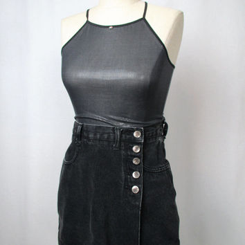 Vintage 90s Black Denim Mini Skort w/ Pockets and Button Closure Goth Grunge Club Kid Acid Wash Skirt Shorts High Waisted Size 3 Small XS