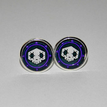Overwatch sombra logo stud earrings jewelry, Virus skin skull, sombra simbol patch, video game sombra overwatch, Overwatch Fan Art simbol