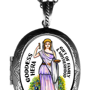 Goddess Hera Gift of Family Locket Pendant Empty or Solid Perfume