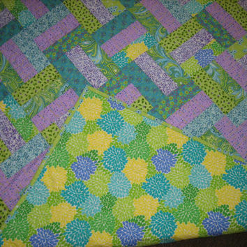 Baby or Lap Quilt, Bright Turquoise, Green and Purple