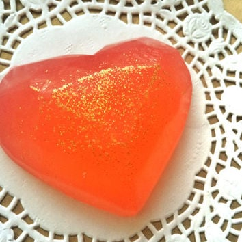 Red heart soap, glitter soap, natural soap, berry mix aroma, christmas gift, present for beloved, olive oil soaps, loveinreturnart,love soap
