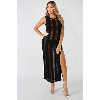 Jersey Knit Shreds Maxi Dress Cover Up