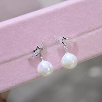 Lovely stars and pearl 925 Sterling Silver zircon earrings , perfect gift