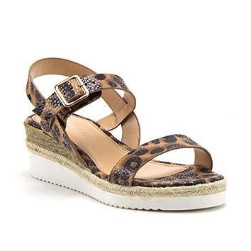 Women's Stacked Flatform Espadrilles Slingback Strappy Open Toe Wedge Sandals
