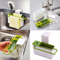 Suction Cup Base Kitchen Brush Sponge Sink Draining Towel Rack