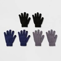 Boys' 3 Pack Solid Gloves With 2 Finger Tech Touch - Cat & Jack™ Multi-Colored One Size