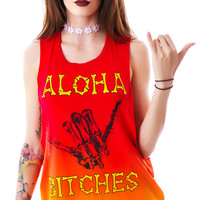 Iron Fist Aloha Bitches Muscle Tank Orange