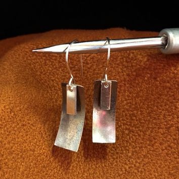 Sterling Silver Brushed charm Earrings