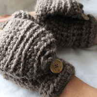 Crochet wool mittens, Convertible winter mittens for women - The CERYS -  Fingerless gloves - Taupe wool mittens