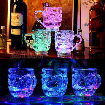 Glasses Beer Cup Dragon LED Inductive Rainbow Color Flashing Light Glow Mugs For Party